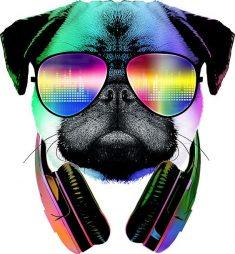 Music Love Pug Sticker